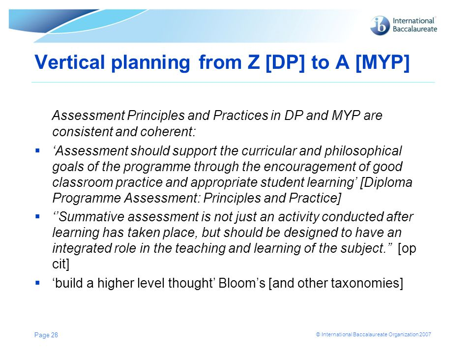 Vertical planning from Z [DP] to A [MYP]